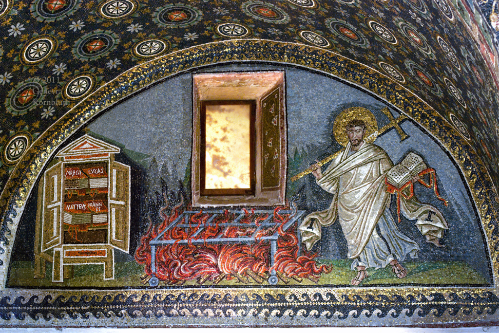 Saint Lawrence as deacon with cross, fire of his death and books of the four gospels.